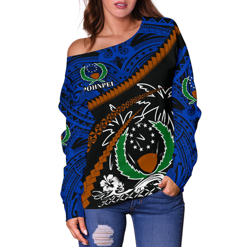 Image of Pohnpei Women Off Shoulder Sweater - Road to Hometown K4