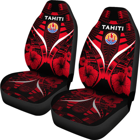 Tahiti Tattoo Car Seat Covers Hibiscus - Red Color 2