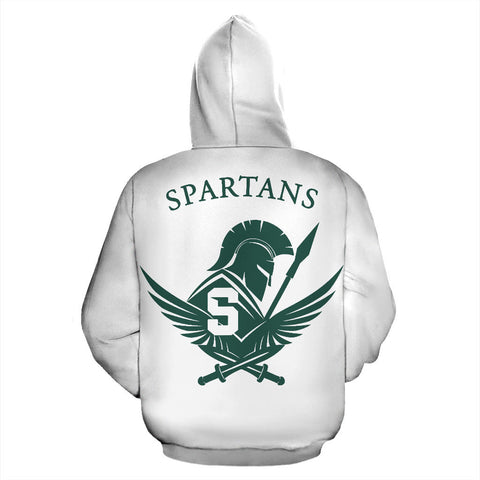 American Zip Up Hoodie - Spartans Warrior - White - Back - For Men and Women