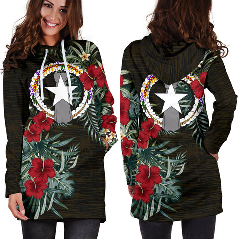 Northern Mariana Islands Hibiscus Hoodie Dress A7