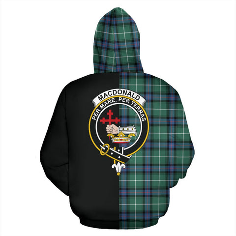 Image of MacDonald of the Isles Hunting Ancient Tartan Hoodie Half Of Me TH8