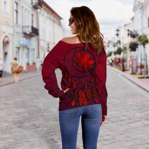 Image of Canada Maple Leaf Dreamcatcher Women's Off Shoulder Sweater | Clothing | Love the World