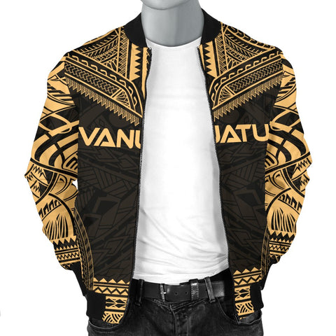 Image of Vanuatu Polynesian Chief Men's Bomber Jacket - Gold Version - Bn10