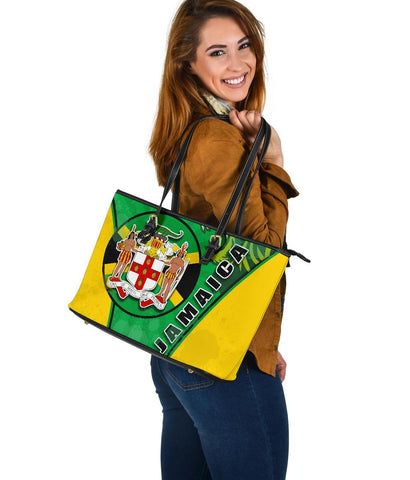 Jamaica Lion Large Leather Tote Circle Stripes Flag Version K13