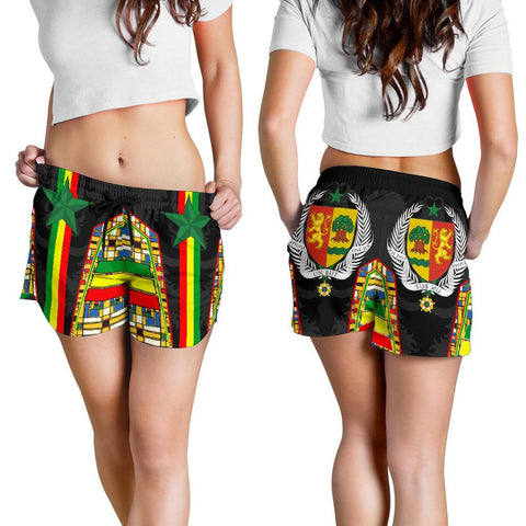 Image of 1sttheworld Senegal Women's Shorts - Senegal Flag Color And Coat Of Arm - BN17