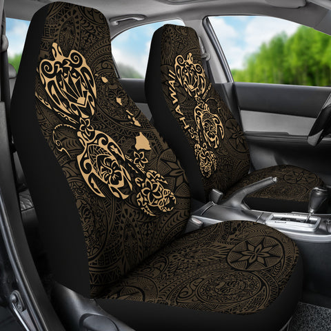 Image of Hawaii Family Turtles Map Polynesian Car Seat Covers - Gold 2