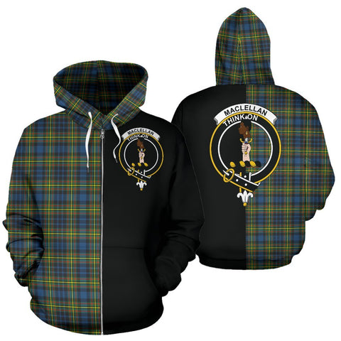 (Custom your text) MacLellan Ancient Tartan Hoodie Half Of Me TH8