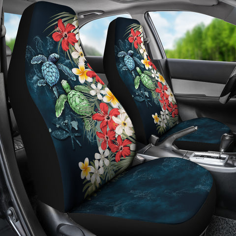 Kanaka Maoli (Hawaiian) Car Seat Covers - Sea Turtle Tropical Hibiscus And Plumeria A24