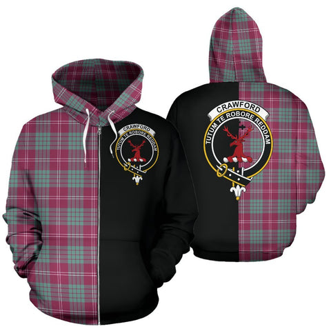 (Custom your text) Crawford Ancient Tartan Hoodie Half Of Me TH8