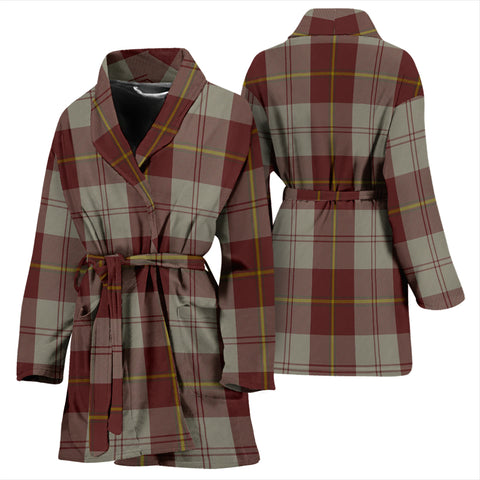 Cunningham Burgundy Dancers Bathrobe - Women Tartan Plaid Bathrobe Universal Fit