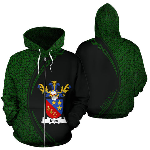 Image of Johns Family Crest Zip Hoodie Irish Circle Style Hj4