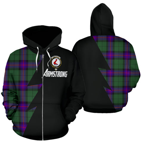 Tartan All Over Zip-Up Hoodie - Armstrong Clans Badge - BN