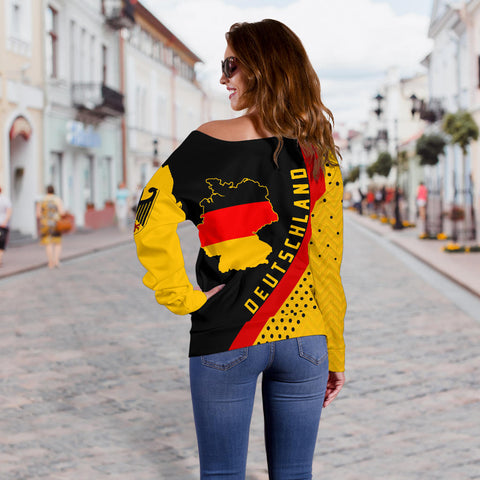 Germany Map Generation II Off Shoulder Sweater K6 - Black and Yellow - Back - for Women