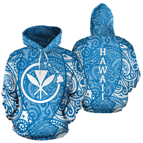 Hawaii Hoodie Polynesian Kanaka Blue TH2