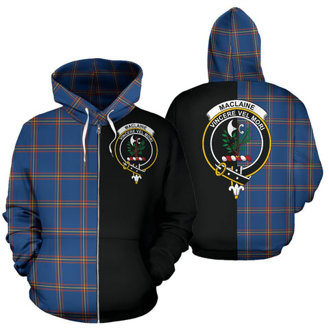 MacLaine of Loch Buie Hunting Ancient Tartan Hoodie Half Of Me TH8