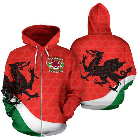 Wales Rugby Dragon Zip Up Hoodie