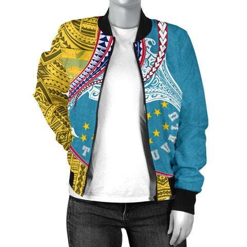 Image of Tuvalu Women's Bomber Jacket Manta Polynesian TH65