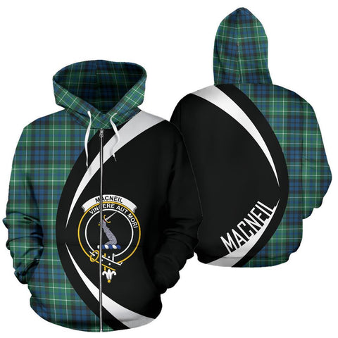 Image of MacNeill of Colonsay Ancient Tartan Circle Zip Hoodie HJ4