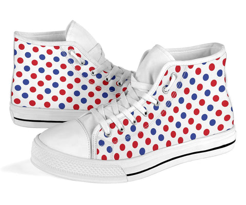 France High Top Shoe - Francais Flag Polka Dots Basic