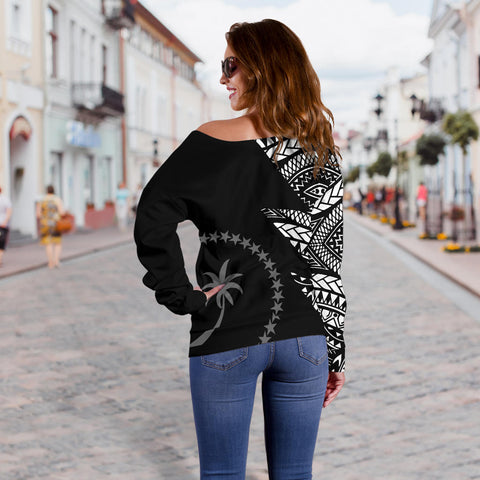 Image of Chuuk Pattern Women's Off Shoulder Sweater - Black Style - FSM - BN912