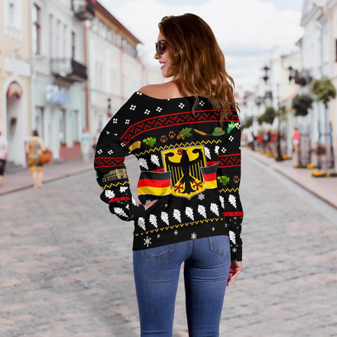 Image of Germany Christmas Women's Off Shoulder Sweater TH5