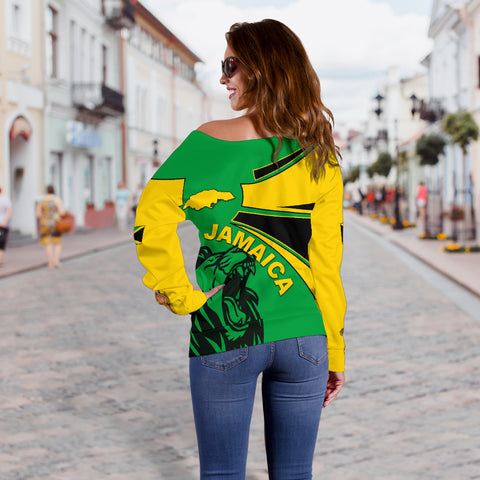 Jamaica Off Shoulder Sweaters, Jamaica Round Coat Of Arms Lion Women A10