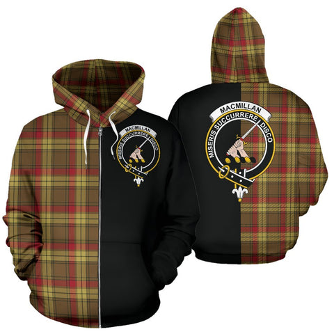 (Custom your text) MacMillan Old Weathered Tartan Hoodie Half Of Me TH8