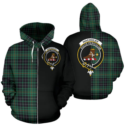 MacAulay Hunting Ancient Tartan Hoodie Half Of Me TH8
