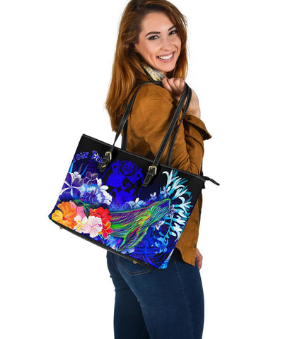 Tonga Custom Personalised Large Leather Tote Bag - Humpback Whale with Tropical Flowers (Blue)