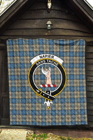 Image of Napier Ancient Tartan Clan Badge Premium Quilt | 1sttheworld.com
