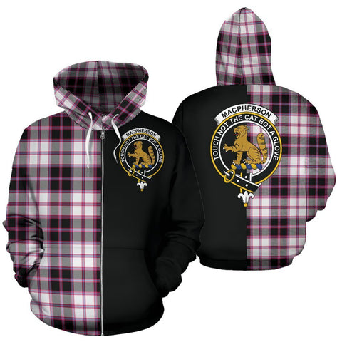 (Custom your text) MacPherson Hunting Modern Tartan Hoodie Half Of Me TH8