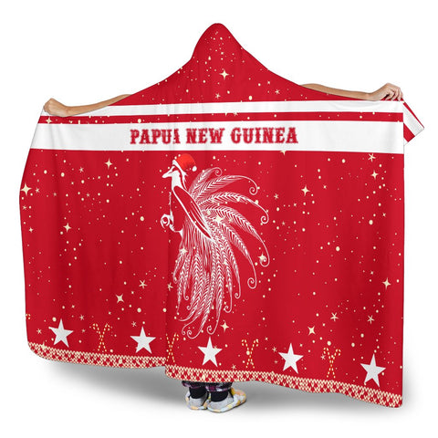 Papua New Guinea Paradise Bird Hooded Blanket - Red