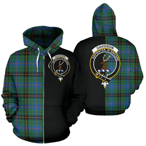 (Custom your text) Davidson Ancient Tartan Hoodie Half Of Me TH8