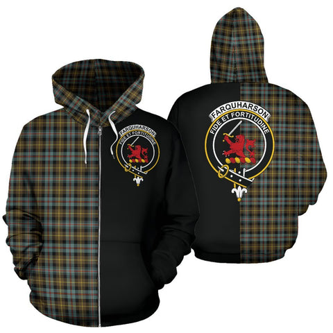 (Custom your text) Farquharson Weathered Tartan Hoodie Half Of Me TH8