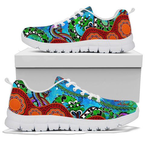 Australia Aboriginal Sneakers - Aussie Indigenous Patterns Blue