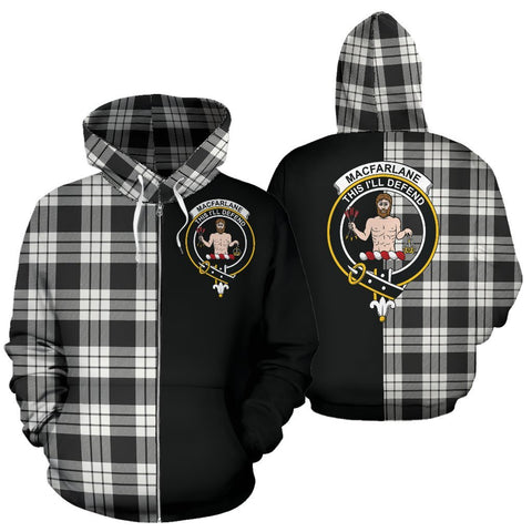 (Custom your text) MacFarlane Black & White Ancient Tartan Hoodie Half Of Me TH8