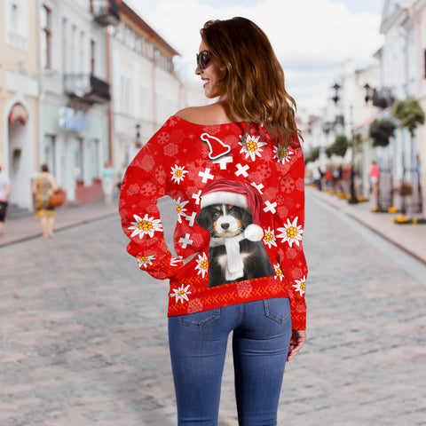 Christmas Edelweiss Switzerland Off Shoulder Sweater Bernese Mountain Dog Back | 1sttheworld