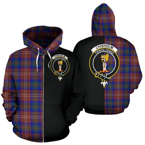 (Custom your text) Chisholm Hunting Modern Tartan Hoodie Half Of Me TH8