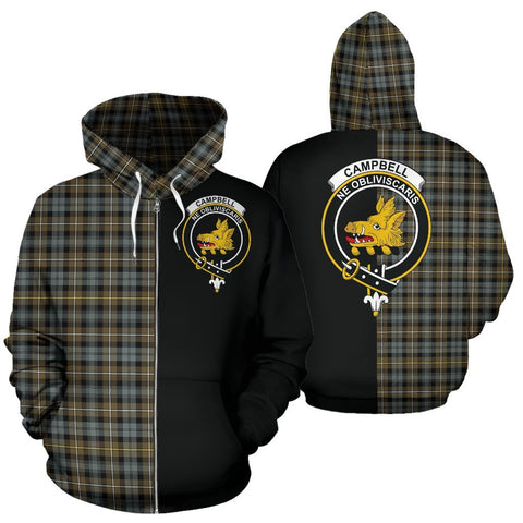 (Custom your text) Campbell Argyll Weathered Tartan Hoodie Half Of Me TH8