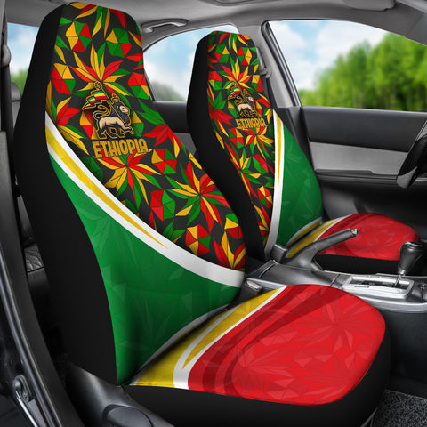 Image of 1stTheWorld Ethiopia Car Seat Covers, Ethiopia Lion Of Judah Flag Rasta A10