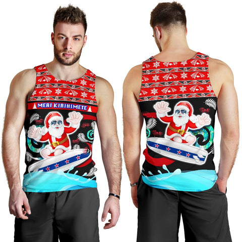 New Zealand Santa Christmas Men Tank Top Pohutukawa Fern And Kiwi K13
