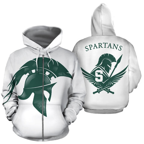 American Zip Up Hoodie - Spartans Warrior - White - Front and Back - For Men and Women