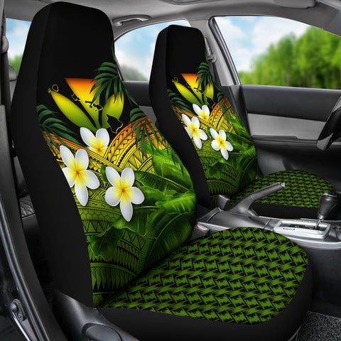 Kanaka Maoli (Hawaiian) Car Seat Covers, Polynesian Plumeria Banana Leaves Reggae A02