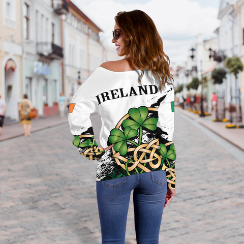Ireland Special Women's Off Shoulder Sweater Version 2 | Special Custom Design