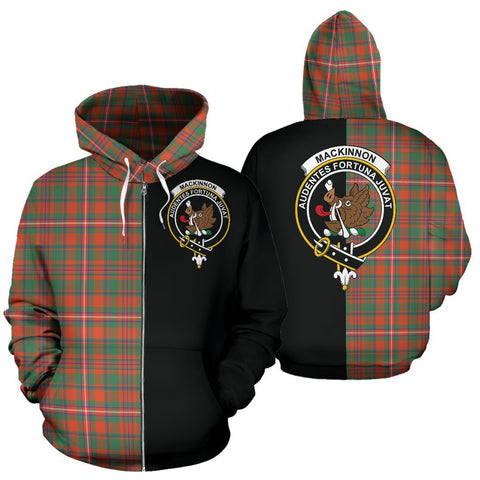 (Custom your text) MacKinnon Ancient Tartan Hoodie Half Of Me TH8