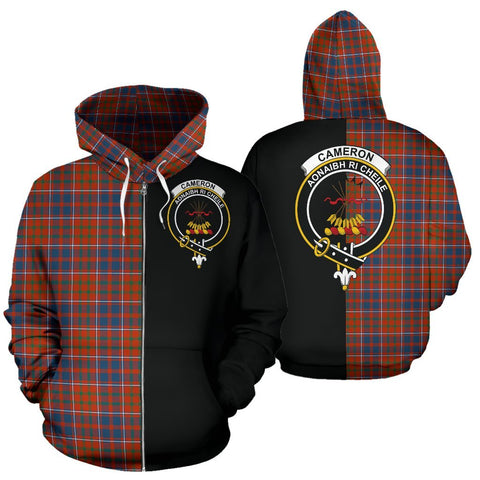 (Custom your text) Cameron of Lochiel Ancient Tartan Hoodie Half Of Me TH8