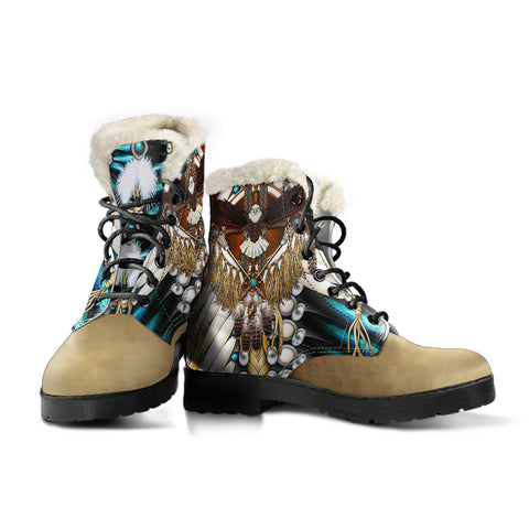 Native American Faux Fur Leather Boots - Mandala 2nd - Light Brown - Right and Left - for Men and Women