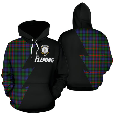 Tartan All Over Hoodie - Fleming Clans Badge - BN