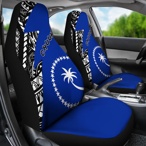 Image of Chuuk Pattern Car Seat Covers - Blue Style - FSM - BN912