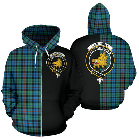 (Custom your text) Campbell of Cawdor Ancient Tartan Hoodie Half Of Me TH8